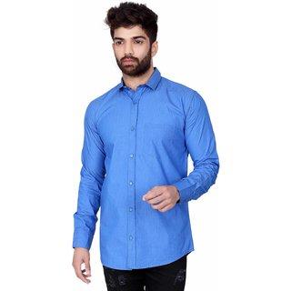 Jugend Light Blue Plain/Solid cotton slim fit casual shirt for men