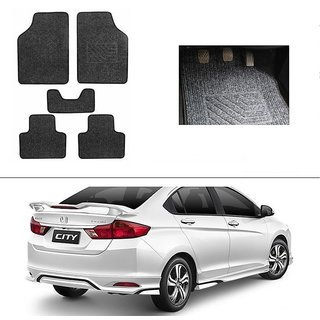 KunjZone Best Quality Set of 5 Carpet Grey Car Foot Mat / Car Floor Mat for Honda City (2014 Upwards)