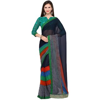 Meia Blue Georgette Printed Saree With Blouse