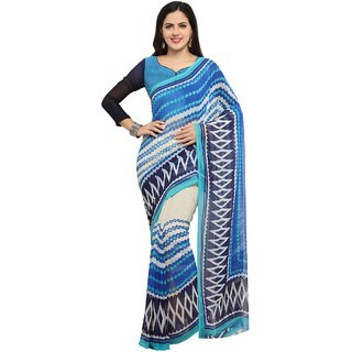Meia Sky Blue Chiffon Printed Saree With Blouse