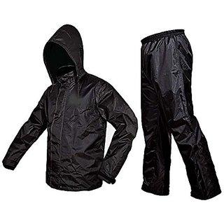Fast Fox Black Stylish Rain Suit / Rain Coat For Bikers College Office mens womens boys girls unisex