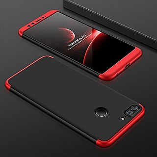 MOBIMON Honor 9 Lite Front Back Case Cover Original Full Body 3-In-1 Slim Fit Complete 3D 360 Degree Protection Hybrid Hard Bumper (Black Red) (LAUNCH OFFER)