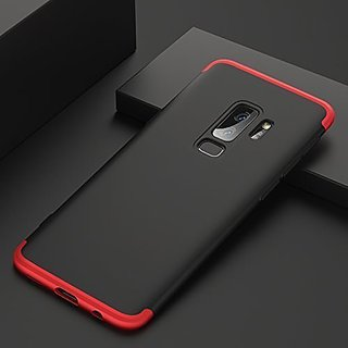 MOBIMON Samsung J8 2018 Front Back Case Cover Original Full Body 3-In-1 Slim Fit Complete 3D 360 Degree Protection Hybrid Hard Bumper (Black Red) (LAUNCH OFFER)
