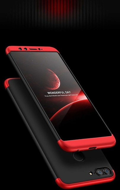 MOBIMON Honor 9 Lite Front Back Case Cover Original Full Body 3-In-1 Slim  Fit Complete 3D 360 Degree Protection Hybrid Hard Bumper (Black Red)  (LAUNCH