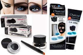 Miss Rose gel Eyeliner Black With Bamboo Activated Charcoal Mask