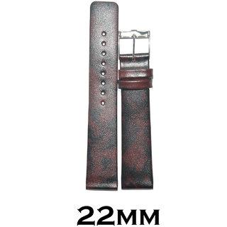 Kolet 22mm Plain Leather Slim  Thin Watch Strap (Dark Marron)