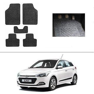 KunjZone Best Quality Set of 5 Carpet Black Car Foot Mat / Car Floor Mat for  Hyundai I-20 Elite