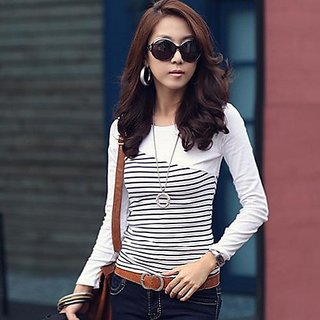 Raabta Fashion Strip T-Shirt with White Yoge RWT12022StripWhite
