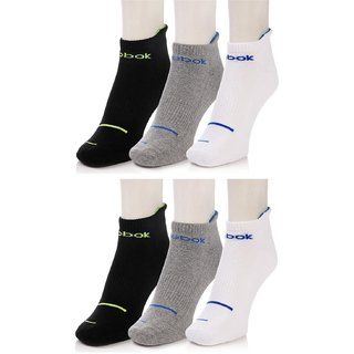 REEBOK Men's  Women's Solid Ankle Length Socks  (Pack of 6)