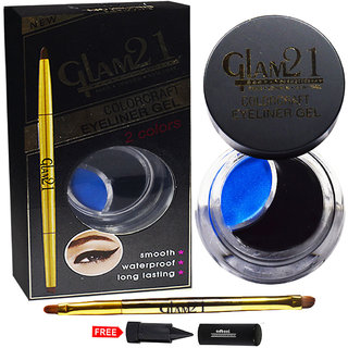 Glam21 Coloraft Eyeliner Gel 2-Colors Black  Blue EY051-02 With Free Adbeni Kajal Worth Rs.125/