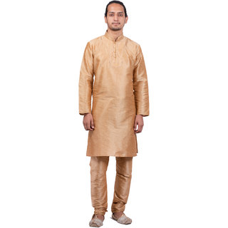 Dulhaghar Men's dupion silk Kurta Pyjama set golden Size 38