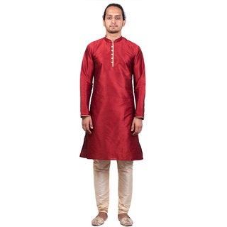 Dulhaghar Men's dupion silk Kurta Pyjama set Maroon Size 44