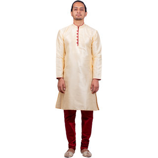 Dulhaghar Men's dupion silk Kurta Pyjama set cream Size 36
