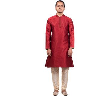 Dulhaghar Men's dupion silk kurta Pyjama set Maroon Size 40