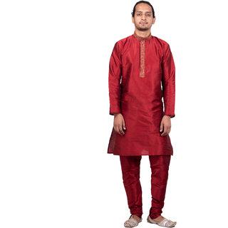 Dulhaghar Men's dupion silk Kurta with neck and plake emb Pyjama set Maroon Size 36