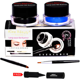 Kiss Beauty Gel Eyeliner Long Wear 24Hr 57142 With Free Adbeni Kajal Worth Rs.125/