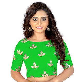 Dwarkesh Fashion Green Bangalore Silk Embroidered Work Ready Made Blouse(dfkf-mapple.green)