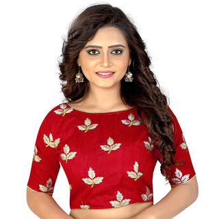 Dwarkesh Fashion Red Bangalore Silk Embroidered Work Ready Made Blouse(dfkf-mapple.red)