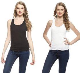 I Shop Girls  Women's Black  White Cotton Lycra Tank Top Spaghetti Combo Offer Pack of 2