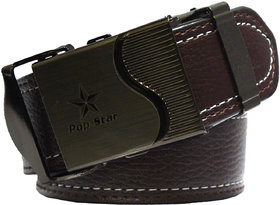 Sunshopping men's brown leatherite auto lock buckle belt