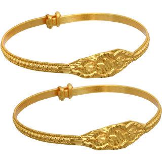 Memoir Gold plated Brass Grooved adjustable size, Nazariya, Bangle kada for kids new born (0-9 months)