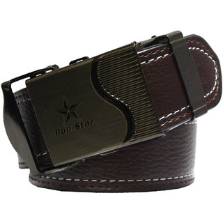 Sunshopping men's brown leatherite auto lock buckle belt (Synthetic leather/Rexine)
