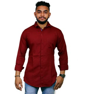 Jugend Red Coloured Linen Casual Slim Fit Shirt For men