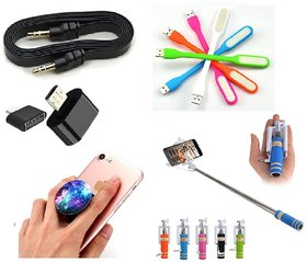 KSJ Combo of Selfie Stick, Popup Socket, LED Light, OTG Adopter and Aux Cable (Assorted Colors)