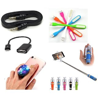 (S11) Combo of Selfie Stick, Popup Socket, LED Light, OTG Cable and Aux Cable (Assorted Colors)
