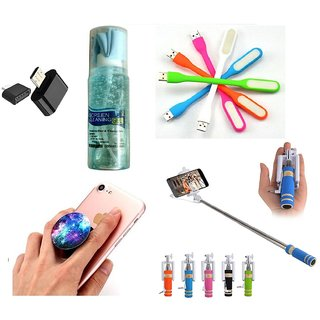 (S13) Combo of Selfie Stick  Popup Socket  LED Light  OTG Adopter and Cleaning Spray (Assorted Colors)