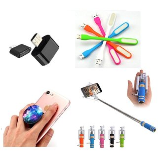 (S14) Combo of Selfie Stick  Popup Socket  LED Light and OTG Adopter (Assorted Colors)
