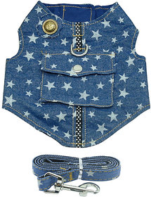 Futaba Denim Dog Vest Harness And Leash - Star - Blue - - 139957759