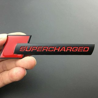 DY 3D Metal Red SUPERCHARGED Car Side Body Trunk Emblem Badge Sticker Decal Audi (Red)