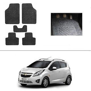 KunjZone Best Quality Set of 5 Carpet Grey Car Foot Mat / Car Floor Mat for Chevrolet Beat