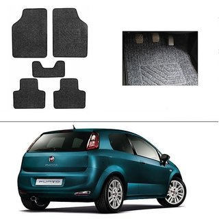 KunjZone Best Quality Set of 5 Carpet Grey Car Foot Mat / Car Floor Mat for Fiat New Punto 2015