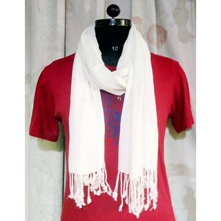 Viscose Pashmina White Solid Color Designer stoles