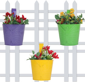 Wonderland (SET OF 3) round bucket railing planter with embossed butterfly