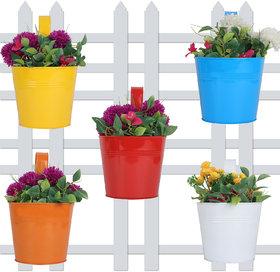 Wonderland (SET OF 5) round bucket Plain Railing planter