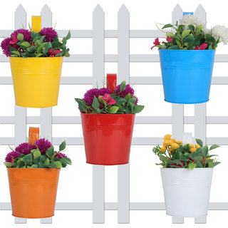Wonderland (SET OF 5) round bucket Plain Railing planter