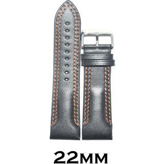 Kolet 22mm Plain Half Padded Double Fluorescent Orange Stitched Leather Watch Strap (Black)