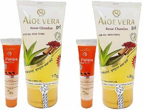 Vrinda Aloevera Gel With Kesar Chandan For All Skin Type - Herbal Treatment For Glowing Skin With Papaya Face Wash Free