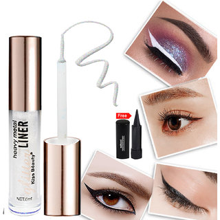 Kiss Beauty Glitter White Eyeliner Long Lasing Waterproof 57210-01 With Free Adbeni Kajal Worth Rs.125/
