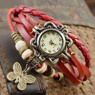 Gujju Rocks Red Vintage Butterfly Watch