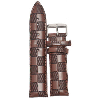 Kolet 22mm Textured Padded leatherette Watch Strap (Brown)