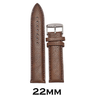 Kolet 22mm Plain Padded leatherette Watch Strap (Brown)