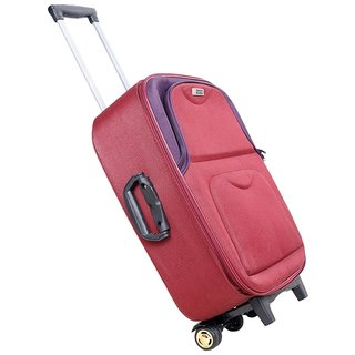 Trolley 3 Wheels Red Fabric Strolley Bag