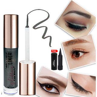 Kiss Beauty Glitter Black Eyeliner Long Lasing Waterproof 57210-05 With Free Adbeni Kajal Worth Rs.125/