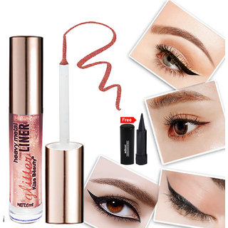 Kiss Beauty Glitter Purple Eyeliner Long Lasing Waterproof 57210-06 With Free Adbeni Kajal Worth Rs.125/