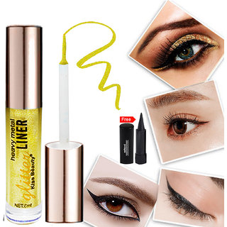 Kiss Beauty Glitter Yellow Eyeliner Long Lasting 57210-10 With Free Adbeni Kajal Worth Rs.125/