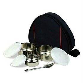 3 In 1 Insulated Hot Lunch Tiffin Box with Carry Bag